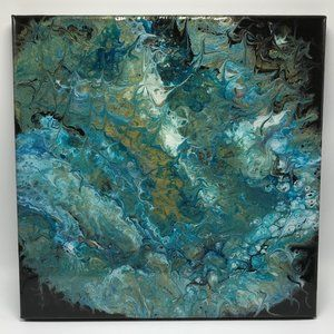 """Abstract Fluid Art Painting on 12x12"""" Canvas"""